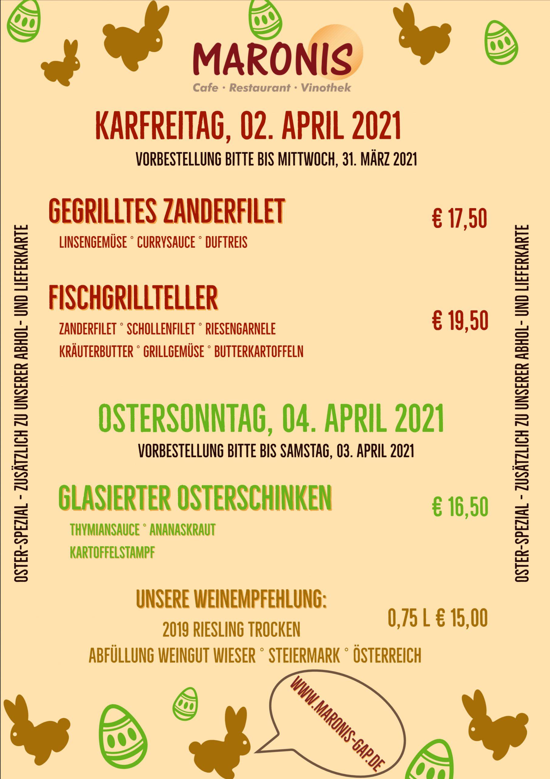 Abhol- und Lieferservice – auch an Ostern 2021